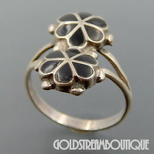 Vintage Zuni Sterling Silver Jet Inlay 2 Flowers Split Shank Ring Size 6.5