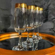 Champagne Flutes 4 Gold Etched Crystal Stemware Glasses Wedding Cellini Italy