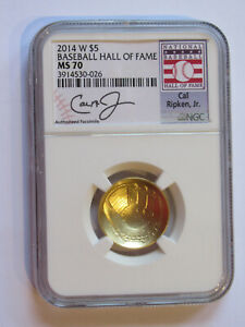 2014-W $5 Gold Baseball HOF Commemorative - NGC MS70 Cal Ripken, Jr.