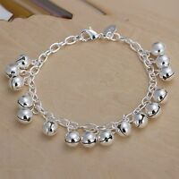 Wholesale 925Sterling Solid Silver Jewelry Bright Bells Bracelet For Women H056