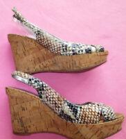 Marc Fisher Snakeskin Cork Wedge Slingback Ankle Strap Heels Sandals Shoes Nwd 7