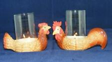 Klima Pair of Porcelain Chicken Candle Holders with Glass Brown L700