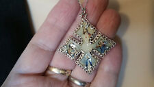 Vintage Silver Tone Religon Jesus Joshph Mother Mary Necklace Brooch PendantT130