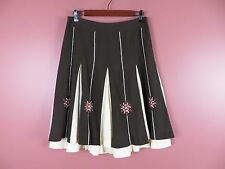 SK09040- ANN TAYLOR LOFT Woman Cotton Flared Skirt Insert Panels Embroidered 8
