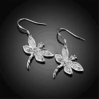 925 Sterling Silver Plated Fashion Jewelry Dragonfly Drop Earrings Gift SE003