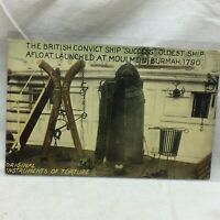 Vtg Postcard British Convict Ship Scene Unused Torture Instruments Iron Maiden