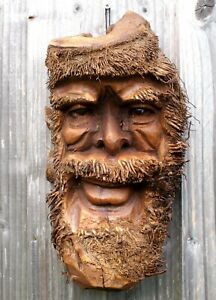 Large Bamboo Root Face Carving Old Man Effigy Garden Warden Christmas