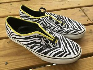 Van's Off the Wall Black/White Zebra Striped Lace Shoes Men's 11 NWOT