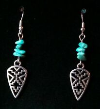 Southwest silver & turquoise earrings created in Arizona by Sandy of Scottsdale