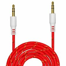 3.5mm Braided Nylon Male to M Aux Cable Cord Car Audio laptop Headphone Jack Red