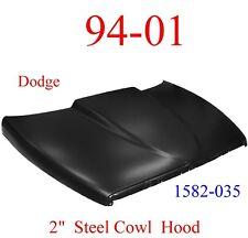 """94 01 Dodge Ram 2"""" Cowl Hood Steel Bolt On W/ Latch, KeyPart 1582-035"""