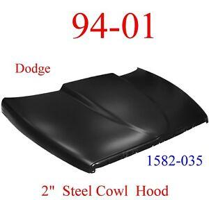 "No Shipping 94 01 Dodge Ram 2"" Cowl Hood Steel Bolt On W/ Latch KeyPart 1582-035"