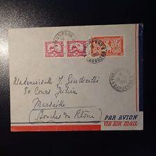 INDOCHINE LETTRE COVER CAD PHNOMPENN CAMBODGE 1950 POUR MARSEILLE PAR AVION