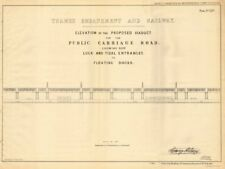 Proposed THAMES EMBANKMENT road viaduct. Locks/docks/wharves. H BIRD 1855 map