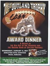 CAM ROBINSON Signed 2016 OUTLAND TROPHY PROGRAM COA PROOF ALABAMA CRIMSON TIDE