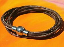 Ladies Faded Brown leather stainless steel double wrap bracelet by Lyme Bay Art
