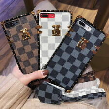 Classic Plaids Leather Square Case Cover For iPhone 11 Pro XS Max XR 7 8 Plus
