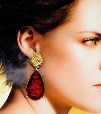 NEW Red Tone Crystal Long Style Drop Down Ear Dangle Chandelier Earrings Design