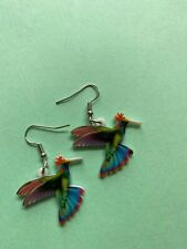 Fun Earrings Humingbird with top knot blue purple red