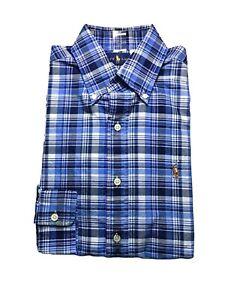 Polo Ralph Lauren Men's Classic Fit Cotton Plaid OXFORD Button Down Shirt L NWT