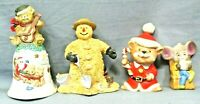 CHRISTMAS Holiday Home Decor Lot Of 4 Figurines Ceramic/Porcelain VINTAGE