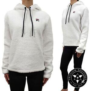 Fila Women's Sherpa Hoodie Sweatshirt White XL Athleisure Polyester NWT
