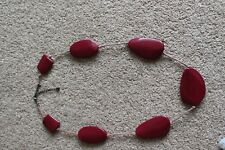 RED FLAT PLASTIC BEAD NECKLACE LOOKS GREAT
