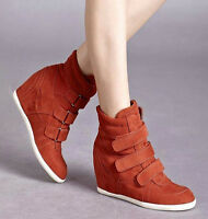New Womens Roman Strappy Wedge Ankle Boots Fashion Sneaker High Top Shoes