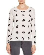 NWT AQUA Cashmere Cashmere Skull Print Crewneck Sweater