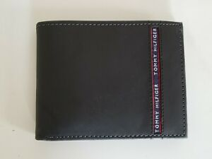 NWT Tommy Hilfiger black color leather bifold  valet wallet RFID