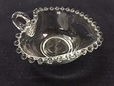 CANDLEWICK Glass Heart Bowl with Handle Vintage Estate Look Small Candy Dish