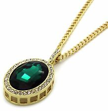 """Mens 14k Gold Plated Iced Out Green Ruby Oval Pendant Hip-Hop 30"""" Cuban Chain"""