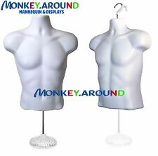 Clothing Display, Male Mannequin + Stand, Dress Torso Man Hanger Form - White