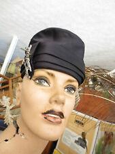 Vintage black satin turban hat w big jewel pin by Michael Terre