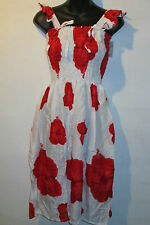Dress Fit XL 1X 2X Plus Sundress White Red Floral Baby Doll Style Ruffle BR 7