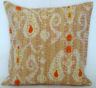 IKAT Cushion Cover: 100% Cotton Embroidered Indian Kantha Hand Made Pillow Cover