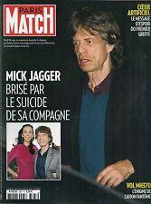 PARIS MATCH N° 3383--MICK JAGGER SUICIDE COMPAGNE/COEUR ARTIFICIEL/VOL MH370