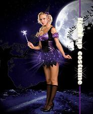 Switch Witch Halloween Light Up Costume Women Purple Dress 3 Piece Set small