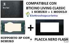 SUPPORTO E PLACCA NERO FLASH CON SCHUKO COMPATIBILE BTICINO LIVING CLASSICA 4713