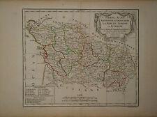 c1780 Genuine Antique hand colored map west central France. De Vaugondy