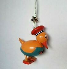 """Mary Engelbreit Vintage Solid Wood Duck Ornament 4"""" Yellow Red Teal"""