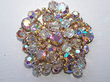 Vtg Juliana LARGE AB Clear Rhinestone & AB Crystal Bead Brooch - Cha Cha - 240
