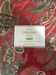 Pottery Barn Adela Velvet Full/Qn Duvet Gorgeous Print!!