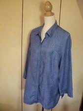 maggie T blue linen  long shirt tunic top   as bought