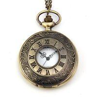 Vintage Bronze Tone Roman Numeral Round Pocket Quartz Watch Pendant Necklace