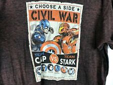 Marvel Mens T Shirt Size 2XL Burn Out Civil War Team Cap Stark Falcon Vision