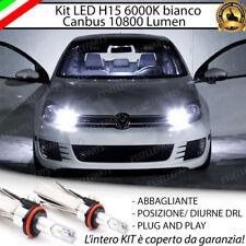 KIT LED H15 CANBUS LUCI DIURNE DRL + ABBAGLIANTI 6000K VW GOLF 6 VI 10800 LUMEN