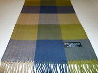 100% Cashmere Scarf Soft 72X12 Blue Green Check Plaid Scotland Wool K9 Men Wrap