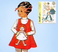 1970s Vintage McCalls Sewing Pattern 2530 Toddler Girls Raggedy Ann Dress Sz 2