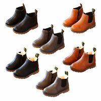 Kids Boys Girl Winter Warm Lined Chelsea Ankle Boots Children Faux Leather Shoes